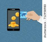 bitcoin exchange concept....   Shutterstock .eps vector #712958980