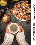 autumn winter pastries. vegan... | Shutterstock . vector #712962100