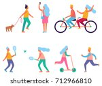 set of peoples activities such... | Shutterstock .eps vector #712966810