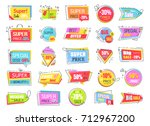collection of colorful super... | Shutterstock .eps vector #712967200
