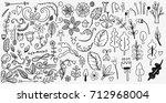 hand drawn vintage floral... | Shutterstock .eps vector #712968004