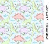 dinosaurs seamless pattern | Shutterstock .eps vector #712968094