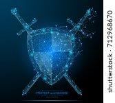 polygonal shield and swords... | Shutterstock .eps vector #712968670