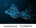polygonal magic gold fish... | Shutterstock .eps vector #712968703
