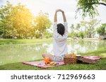 closeup of young woman... | Shutterstock . vector #712969663