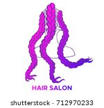 colored african or boxer braids ... | Shutterstock .eps vector #712970233