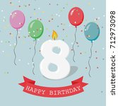 happy birthday anniversary... | Shutterstock .eps vector #712973098