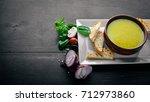 pea and corn puree soup. on a...