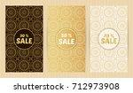 set of flyers in golden colors. ... | Shutterstock .eps vector #712973908