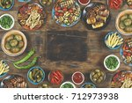 halloumi cheese and vegetables... | Shutterstock . vector #712973938