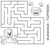 help bear find path to honey.... | Shutterstock .eps vector #712978204
