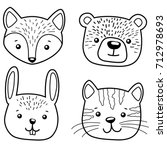 Stock vector cute cartoon animals cat bear fox and rabbit hand drawn set 712978693