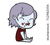cartoon vampire girl with blood ... | Shutterstock .eps vector #712982554