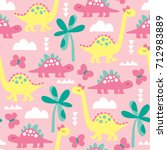 seamless pink dinosaur animal... | Shutterstock .eps vector #712983889