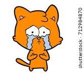 cat crying cartoon | Shutterstock .eps vector #712984870