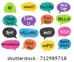 hand drawn scrapbooking speech... | Shutterstock .eps vector #712989718