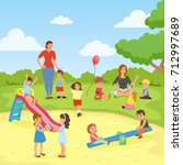 babysitters with kids flat... | Shutterstock .eps vector #712997689