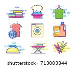 collection of vector laundry... | Shutterstock .eps vector #713003344