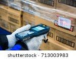 bluetooth barcode scanner... | Shutterstock . vector #713003983