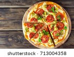 spicy mexican pizza with... | Shutterstock . vector #713004358
