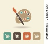 palette with paints and brush.... | Shutterstock .eps vector #713005120