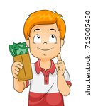 illustration of a kid boy... | Shutterstock .eps vector #713005450