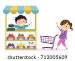 illustration of stickman kids... | Shutterstock .eps vector #713005609