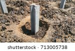 concrete pile stake at... | Shutterstock . vector #713005738