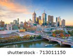 melbourne city skyline at... | Shutterstock . vector #713011150