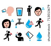 thirsty man  dry mouth  thirst  ... | Shutterstock .eps vector #713013679