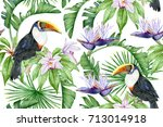 seamless pattern with tropical... | Shutterstock . vector #713014918