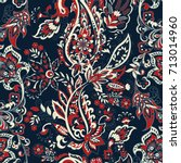paisley ethnic flowers seamless ... | Shutterstock .eps vector #713014960