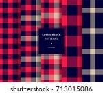 lumberjack seamless patterns set | Shutterstock .eps vector #713015086