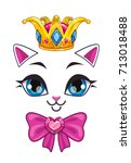 beautiful princess cat face on... | Shutterstock .eps vector #713018488