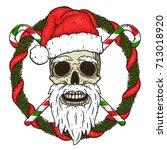 the skull of santa claus in the ... | Shutterstock .eps vector #713018920