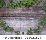 virginia creeper on a wooden... | Shutterstock . vector #713021629