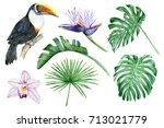set of hand drawn watercolor... | Shutterstock . vector #713021779