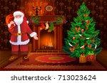 christmas living room interior... | Shutterstock .eps vector #713023624