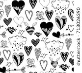 various doodle hearts. graphic... | Shutterstock .eps vector #713026390