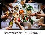 party dinner table  celebrating ... | Shutterstock . vector #713030023