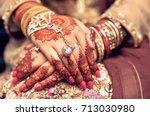 mehndi hands | Shutterstock . vector #713030980