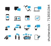 simple communication icons set... | Shutterstock .eps vector #713031364