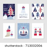 collection of 6 christmas card... | Shutterstock .eps vector #713032006