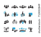 people and business icons set... | Shutterstock .eps vector #713032849