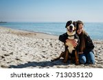 young female with great swiss... | Shutterstock . vector #713035120