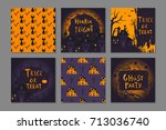 collection of 6 happy halloween ... | Shutterstock .eps vector #713036740