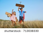 brother and sister in suits of...   Shutterstock . vector #713038330
