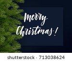 dark blue christmas background...   Shutterstock .eps vector #713038624