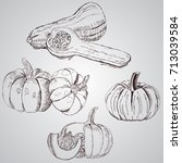 set of vegetables. fresh food.... | Shutterstock .eps vector #713039584