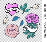 rose branch  heart  ribbon ... | Shutterstock .eps vector #713040148